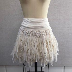 Free People Chiffon Feather Skirt - M